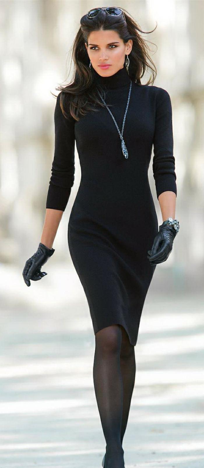 business-kleider-schwarz-liegt-immer-im-trend-schwarzes-kleid-mit-langen-aermeln-handschuhe-tolle-kette-ideen