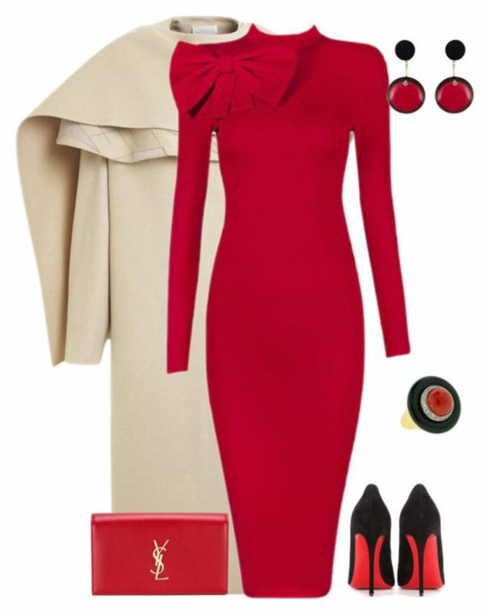 business-kleidung-damen-rotes-kleid-roter-schmuck-beige-mantel-ideen-wie-man-sich-anzieht-buero