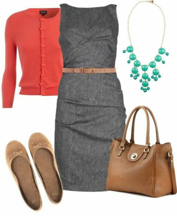 business-kleidung-frauen-graues-kleid-rot-blau-beige-braun-guertel-kombination-mix-der-farben