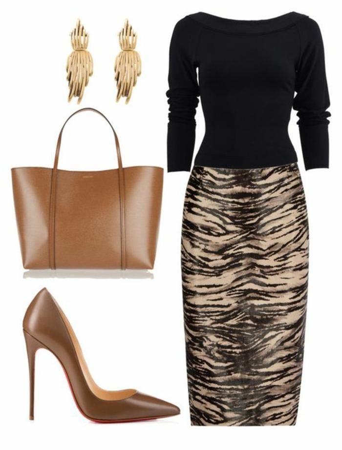 businesskleider-damen-zebra-schwarz-und-beige-tasche-und-schuhe-mit-goldenem-schmuck-kombinieren