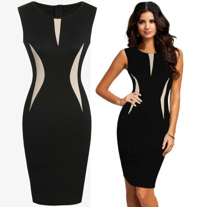 businesskleider-schoene-elegante-frau-mit-schwarzem-kleid-mit-beige-dekorationen-fit-aussehen-im-buero