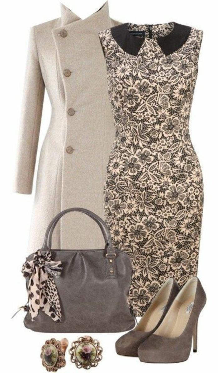 businesskleidung-beige-outfit-kleid-mantel-ohrringe-schuhe-tasche-motive-mit-kleinen-dekoelementen