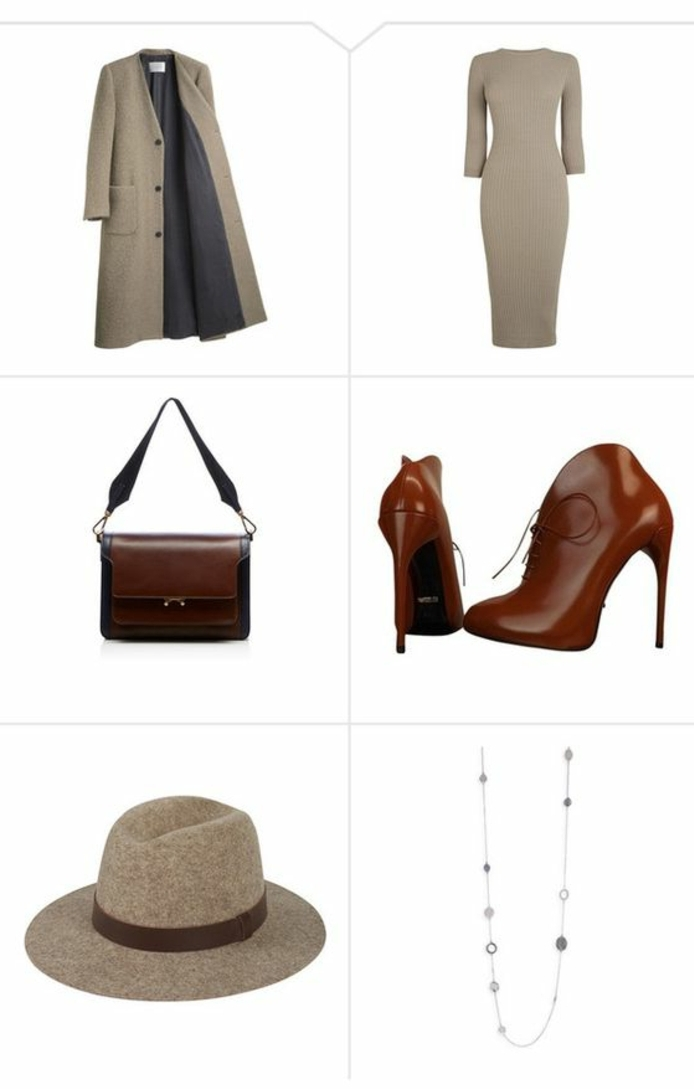 businesskleidung-damen-beige-und-braun-in-einzigartigen-kombinationen-kleid-schoene-stiefel-absaetze