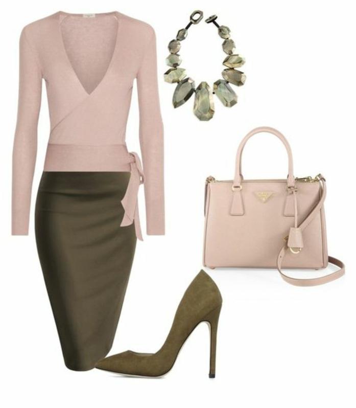 businesskleidung-elegantes-trendy-outfit-gruen-und-rosa-kontraste-wunderschoene-kette-mit-steinen