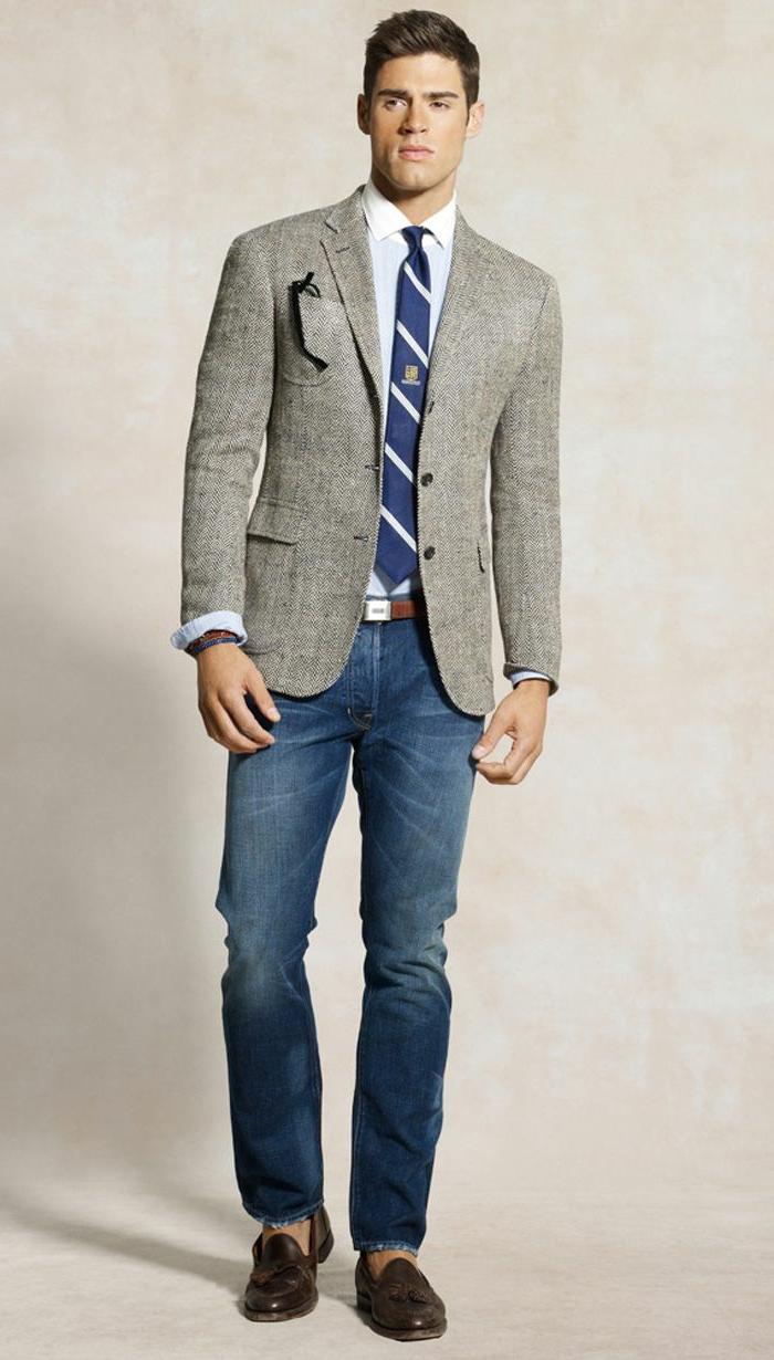 model business casual herren männer stilvolle bekleidung lederschuhe krawatte blazer grau
