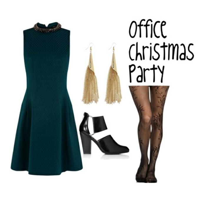 dresscode festlich elegant weihnachtsparty im büro ideen grünes kleid goldene ohrringe absätze