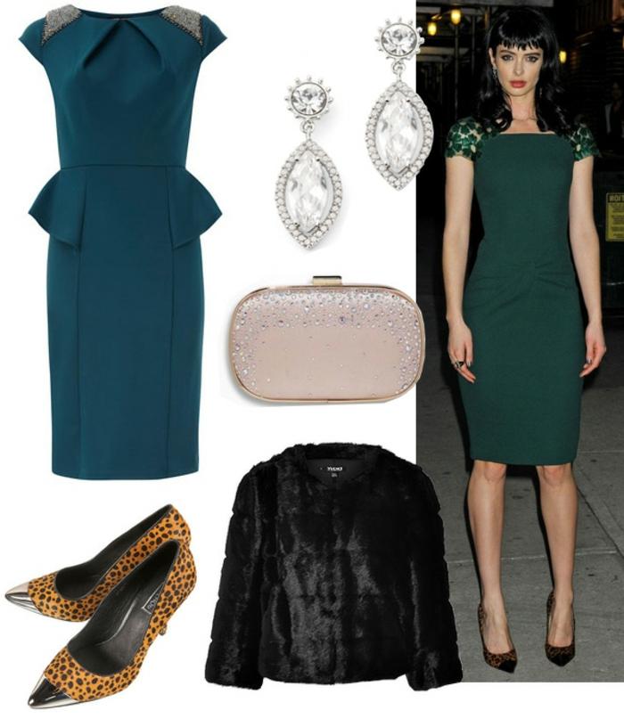 festliche kleidung dresscode grünes kleid blau türkis farbe mit leo print kombinieren leoschuhe mantel