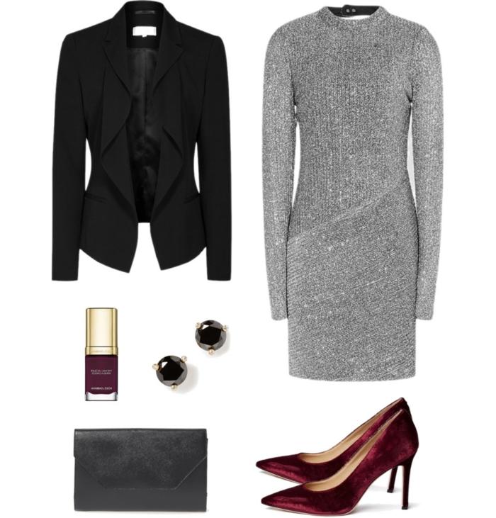 festliche kleidung dresscode silbernes kleid glitzernd schwarze diamanten ohrringe blazer rote schuhe