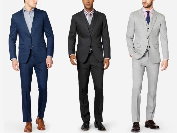 festliche kleidung dresscode drei elegante männer ideen zum anziehen blauer anzug grauer anzug