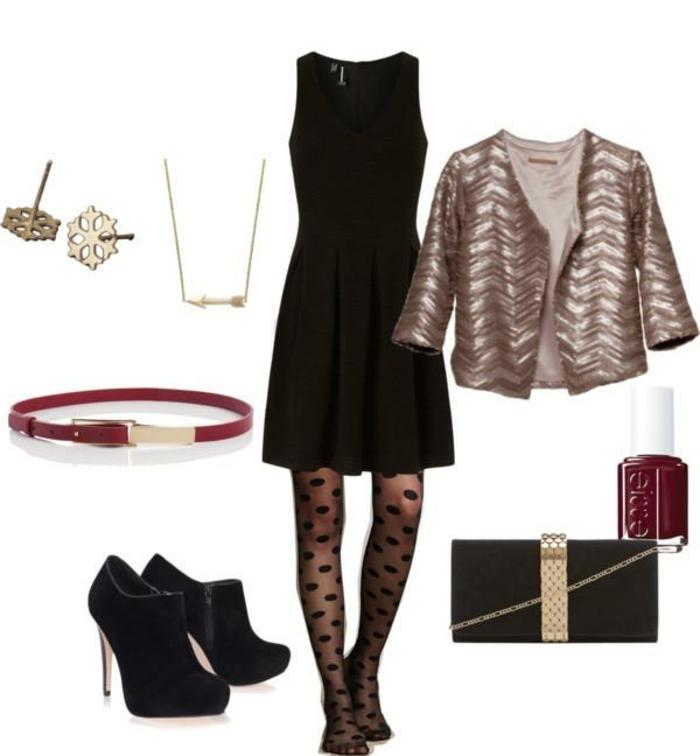 kleiderordnung dunkler anzug schwarzes kleid absatzschuhe goldener blazer accessoires rot gold