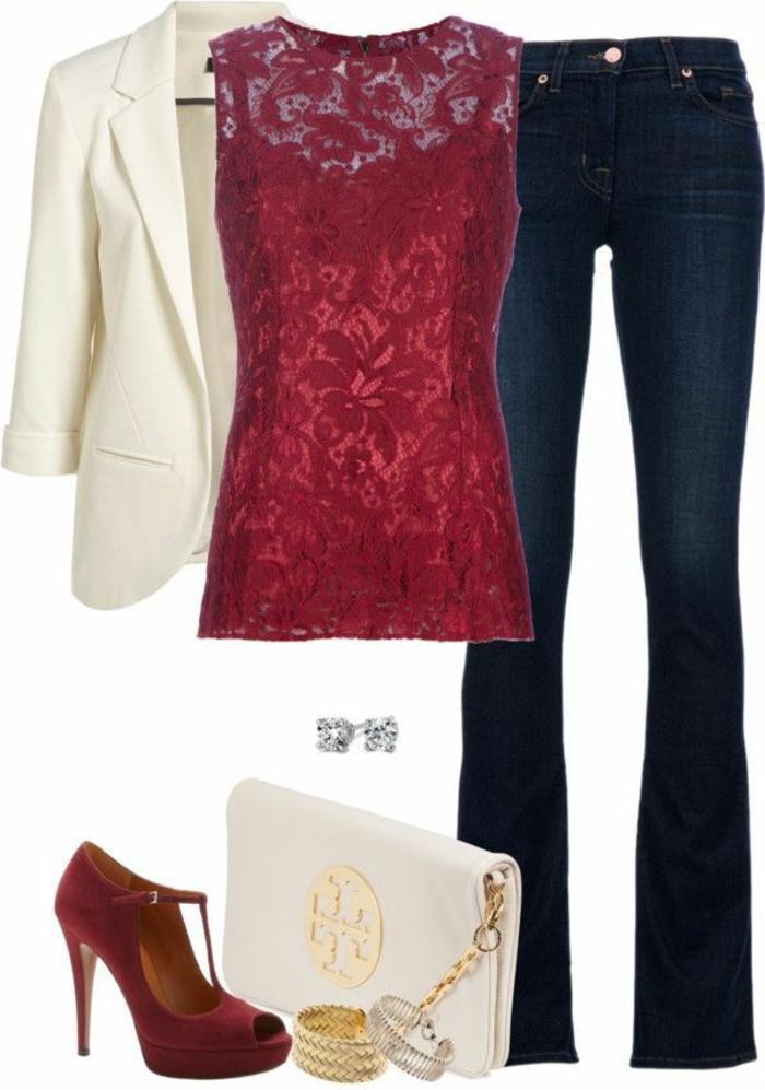 dresscode casual für eine party im büro jeans roter spitzentop weißer blazer rote schuhe weiße tasche