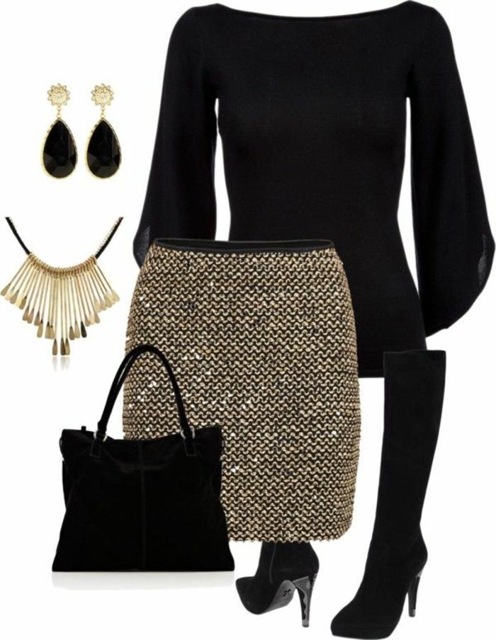 dresscode business casual goldene kette rock schwarz golden glitzernd schwarz golden outfit