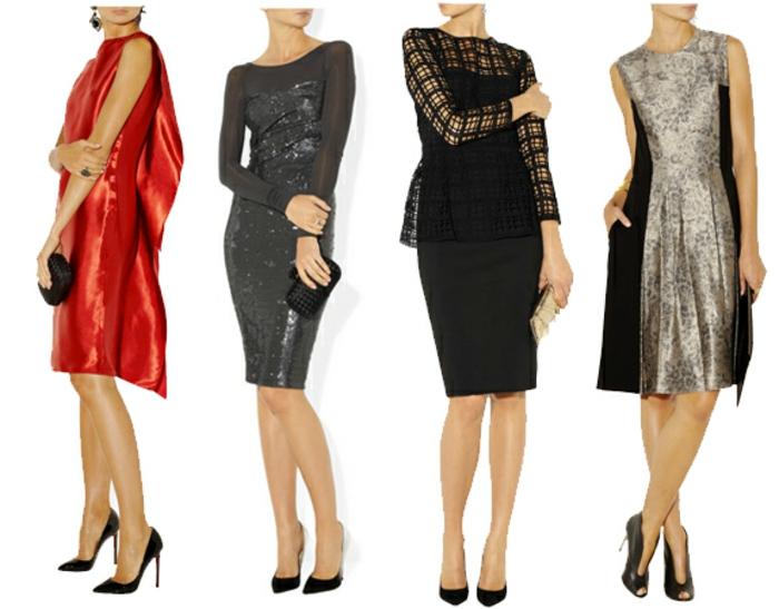 dresscode frauen tragen kleider ideen für modelle und farben vier beispiele rot grau schwarz golden