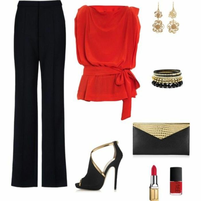 dresscode party frauen stilvoll erscheinen schwarze hose roter top schwarz goldene accessoires