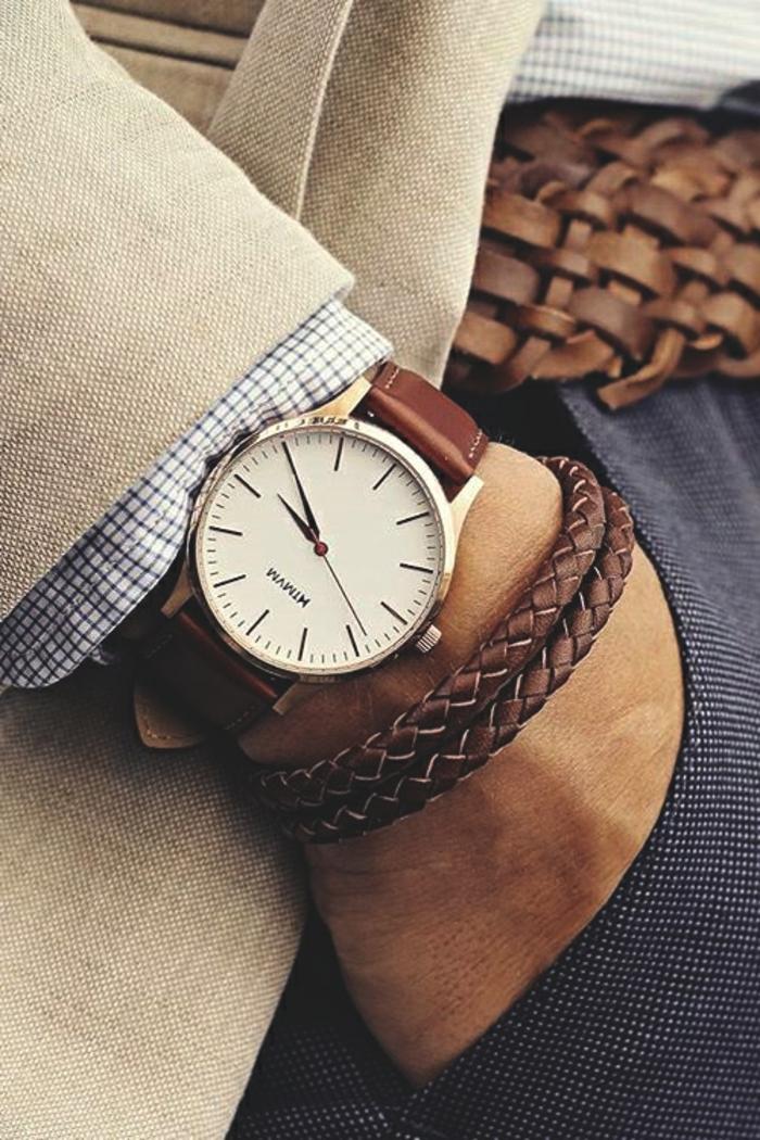 schmuck für männer armbanduhr und armband lederaccessoires für elegante männer stil gürtel