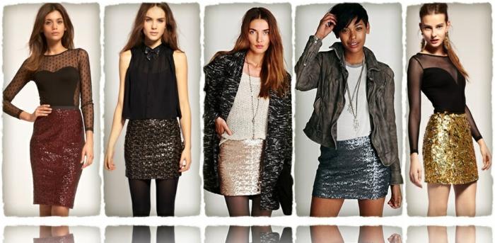 dresscode business casual glitzernde röcke in verschiedenen farben ideen für frauen stil outfit