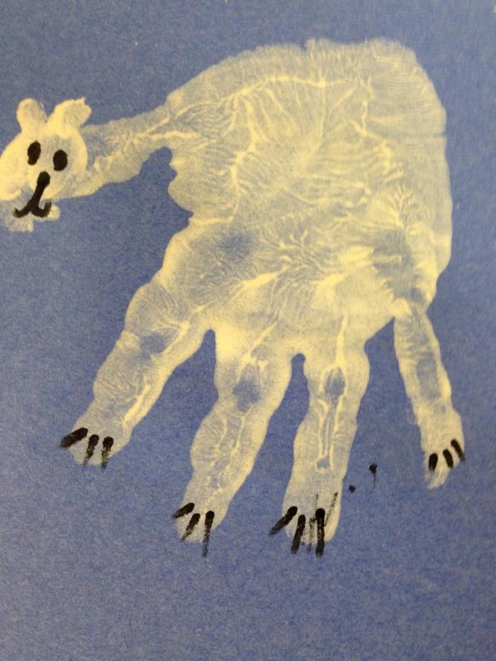 ein schöner weißer eisbär - eine idee für handabdruck bilder