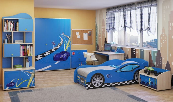 kinderzimmer junge auto blau. Black Bedroom Furniture Sets. Home Design Ideas