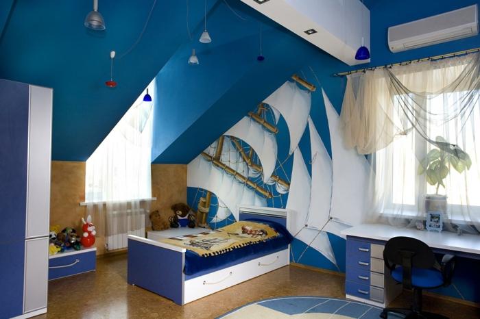 kinderzimmer wie schiff gestalten einrichtungsideen blaues design dachzimmer für junge