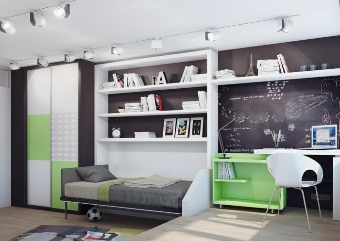 kinderzimmer jungenzummer idee in farben grün grau weiß schwarze tafel zum schreiben paris
