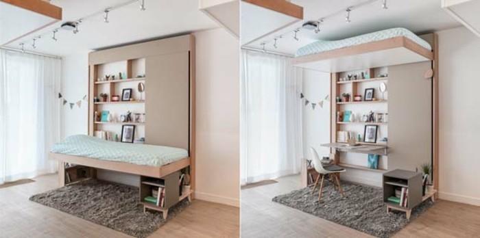 einzimmerwohnung-einrichten-bett-indirektes-licht-laminatboden-schreibtisch-bücherregal-plüschteppich