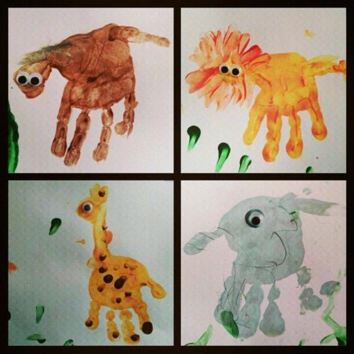 elefant, giraffe, löwe, affe . handabdruck bilder