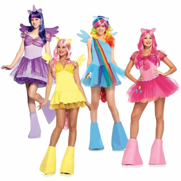 Karnevalkostüme für Gruppen - bunte Kleider und Perücke aus Kindersendung
