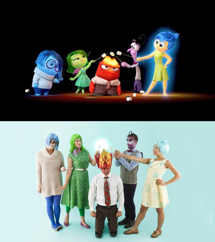 eine Szene aus alles steht Kopf wiedergespielt mit Kostüme - Gruppenkostüme Ideen