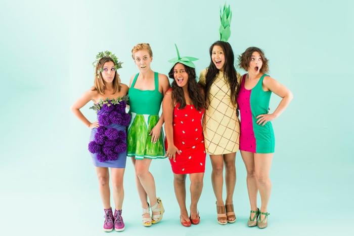 schicke Kleider Karneval Gruppenkostüme von Frauen wie Früchte