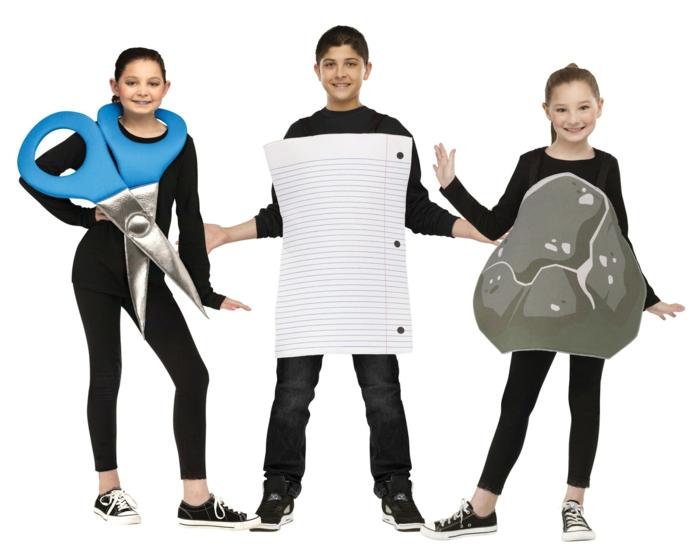 das einfachste Spiel Schere, Stein, Papier hat seine Fans - Karneval Gruppenkostüme