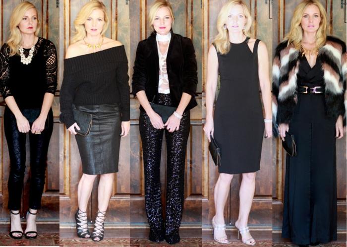 festliche abendgarderobe für eine und die selbe frau fünf outfits ideen zum anziehen motiv schwarz