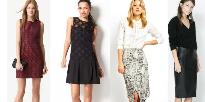 dresscode casual chic ideen vier frauen models kleider und röcke für firmenparty ideen abend