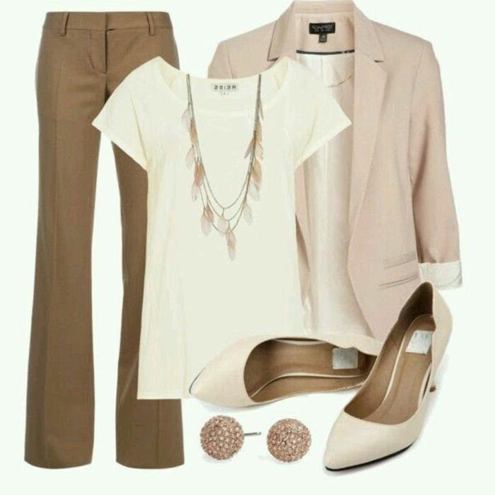 festliche abendgarderobe dezente kombination für frauen in hellen farben braun beige weiß rosa