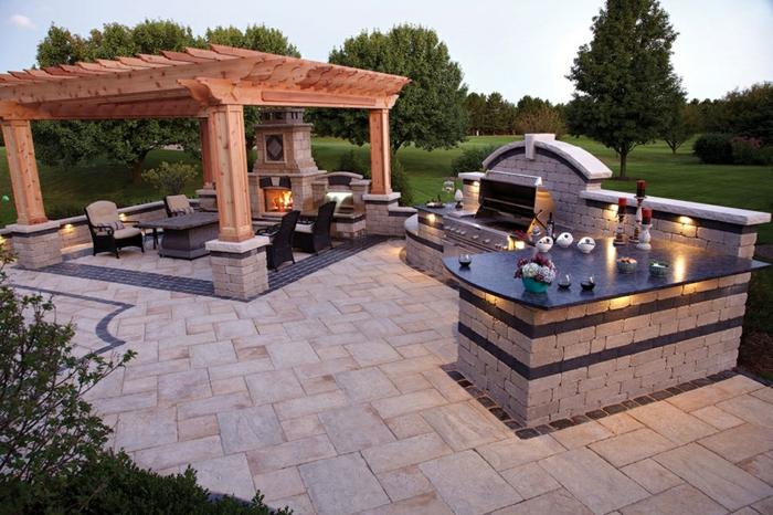 Außenküche mit Grill, Küche in L-Form