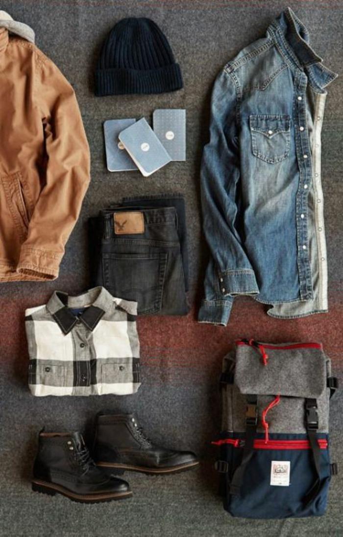 smart casual herren stil ideen kombinationen hemd schwarz und weiß jeanshemd rucksack