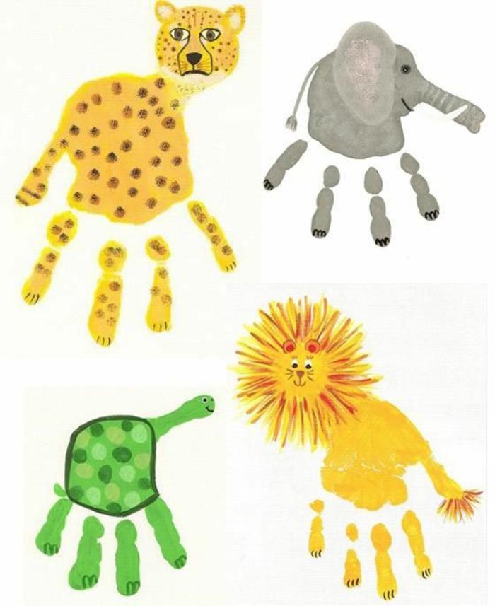 handabdruck bilder - leopard, elefant, schildkröte und löwe
