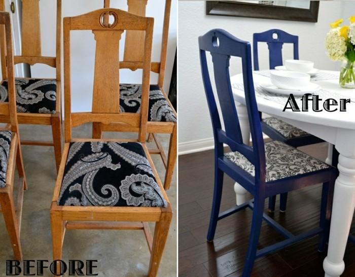 holzstuhl-alt-tapezieren-blau-bemalen-weißer-tisch-vase-gelbe-blumen
