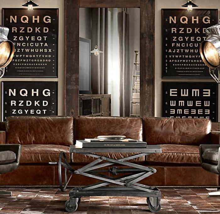industrial-möbel-couchtisch-metall-rollen-ledercouch-braun-boden-braune-fliesen-vintage