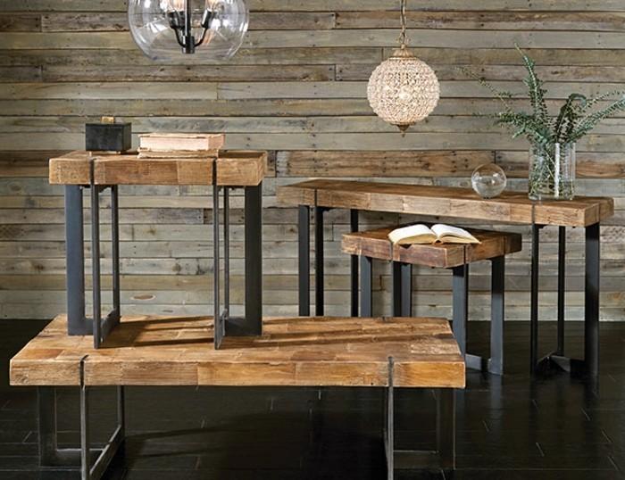 industrialdesign-möbel-tische-holz-metallbeine-grüne-pflanze-beleuchtungskörper-industrial-glaskronleuchter