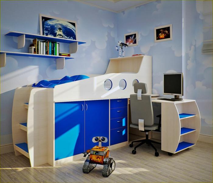 kinderzimmer einrichten smart bett design blau beige schreibtisch computer spielzeug buch