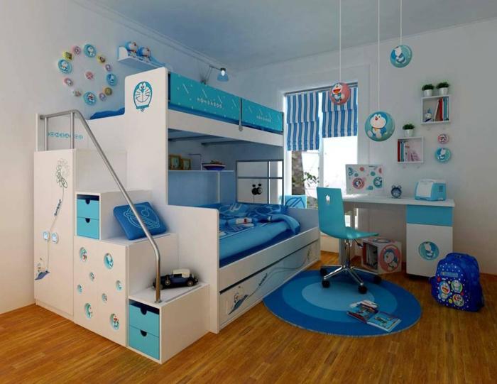 kinderzimmer einrichten ideen in blau und weiß parkett boden blauer teppich ballons schränke