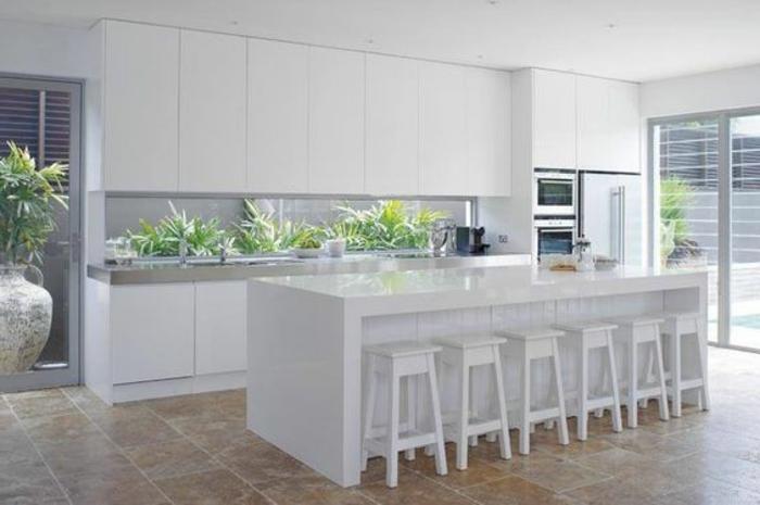 stilvolle küchengestaltung mit glasrückwand mit grünen pflanzen