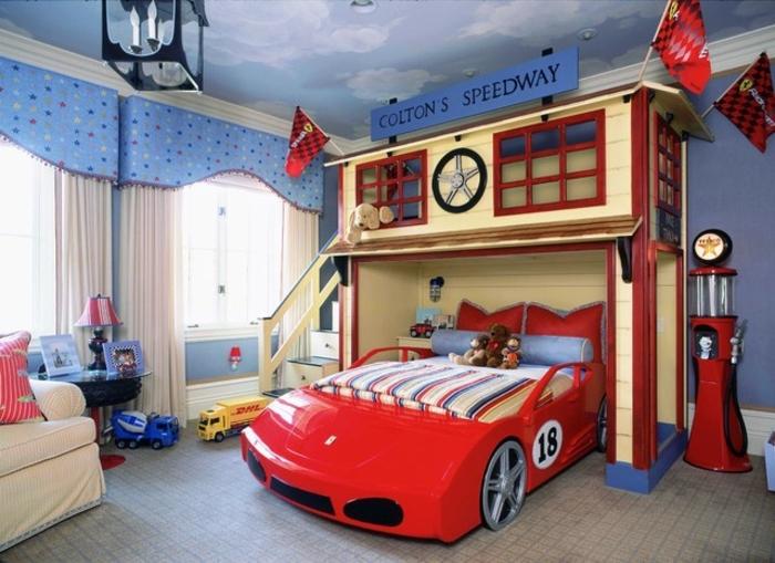 Jungen Kinderzimmer Auto Rotes Auto Bett Garage Imitieren Spielecke über  Dem Bett Modernes Zimmer