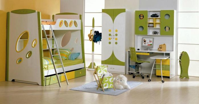 kinderzimmer für jungs ideen zum gestalten gelb und grün farben für die einrichtung kuscheltier hund