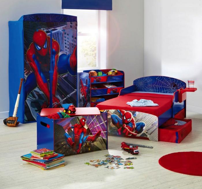 kinderzimmer ideen jungs spiderman bett schrank blauer schrank rotes bett reter teppich