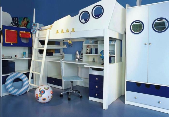 kinderzimmer ideen junge weiß blaues design des zimmers kajüte stil kind wie auf schiff gefühl