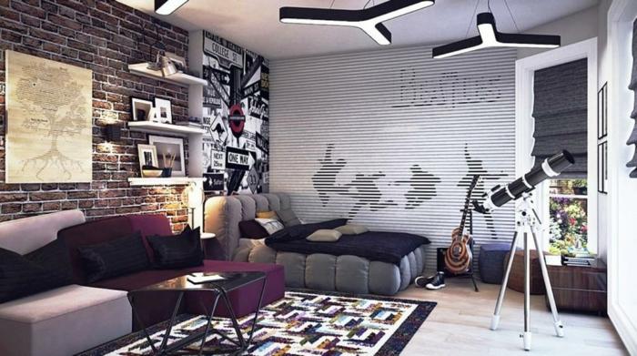 Kinderzimmer Ideen Jungs Design In Grau Und Lila Gitarre Teleskop Teppich  Tisch Bilder Wand