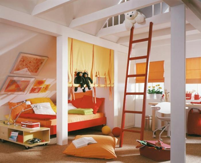schöne kinderzimmer designidee zimmer in weiß und orange treppe im zimmer große kissen