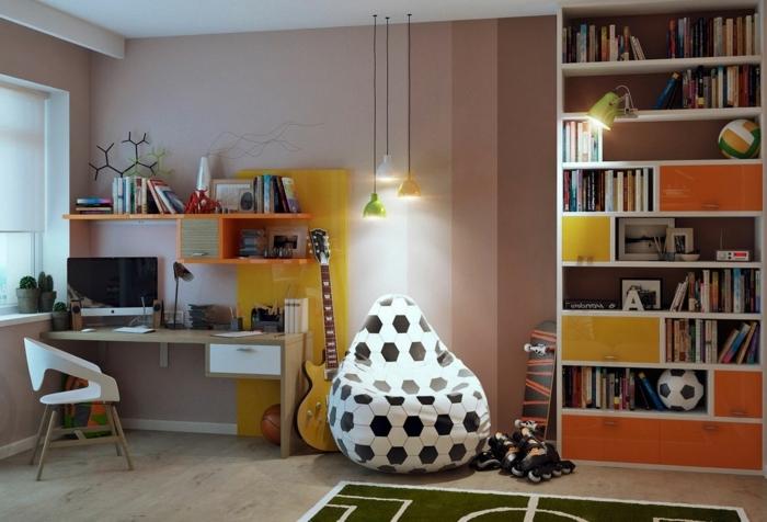 schöne kinderzimmer ideen für einrichtung puff fußball motiv gitarre computer bücherregale lampen