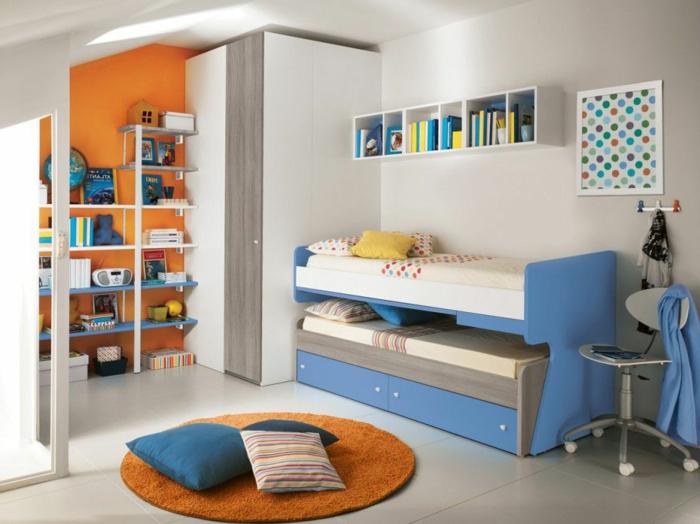 schöne kinderzimmer ideen runder teppich mit kissen dekoriert bett orange wand farben im zimmer